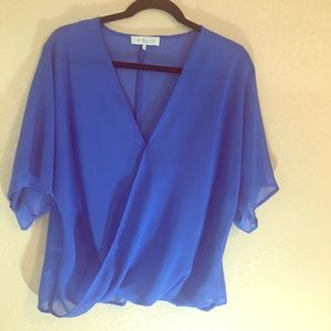 WAYF cobalt blue blouse sheer faux wrap small